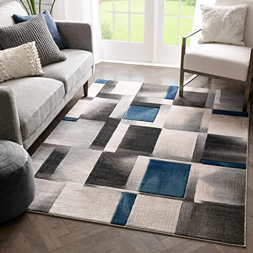Well Woven Lane Blue Modern Geometric Boxes Squares Pattern Area Rug 8×10 7 10 x 10 6