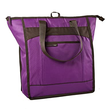 Rachael Ray ChillOut Thermal Tote, Insulated Bag for  Grocery Shopping /Entertaining, Transport Hot and Cold Food, Purple with Brown Trim