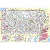 """Cool Owl Maps Pennsylvania State Wall Map Poster Rolled 34""""Wx24""""H (Laminated)"""