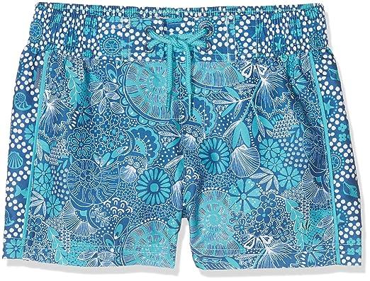 b7a80c015f Fat Face Girl's Sea Sketch Boardie Swim Shorts, Green (Soft Teal Grn ...