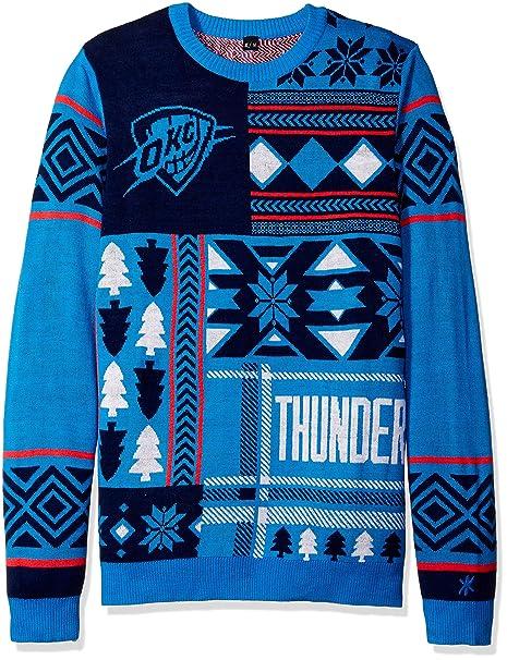 buy popular a3173 41f3f Amazon.com : Oklahoma City Thunder Patches Ugly Crew Neck ...