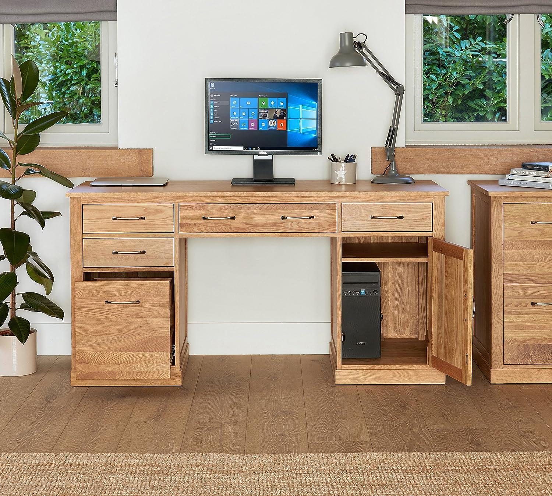 baumhaus mobel oak twin pedestal computer desk amazon co uk kitchen home