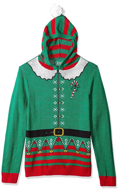 Amazon.com: 3 Santas Men's Elf Hoodie Ugly Christmas Sweater, Red ...