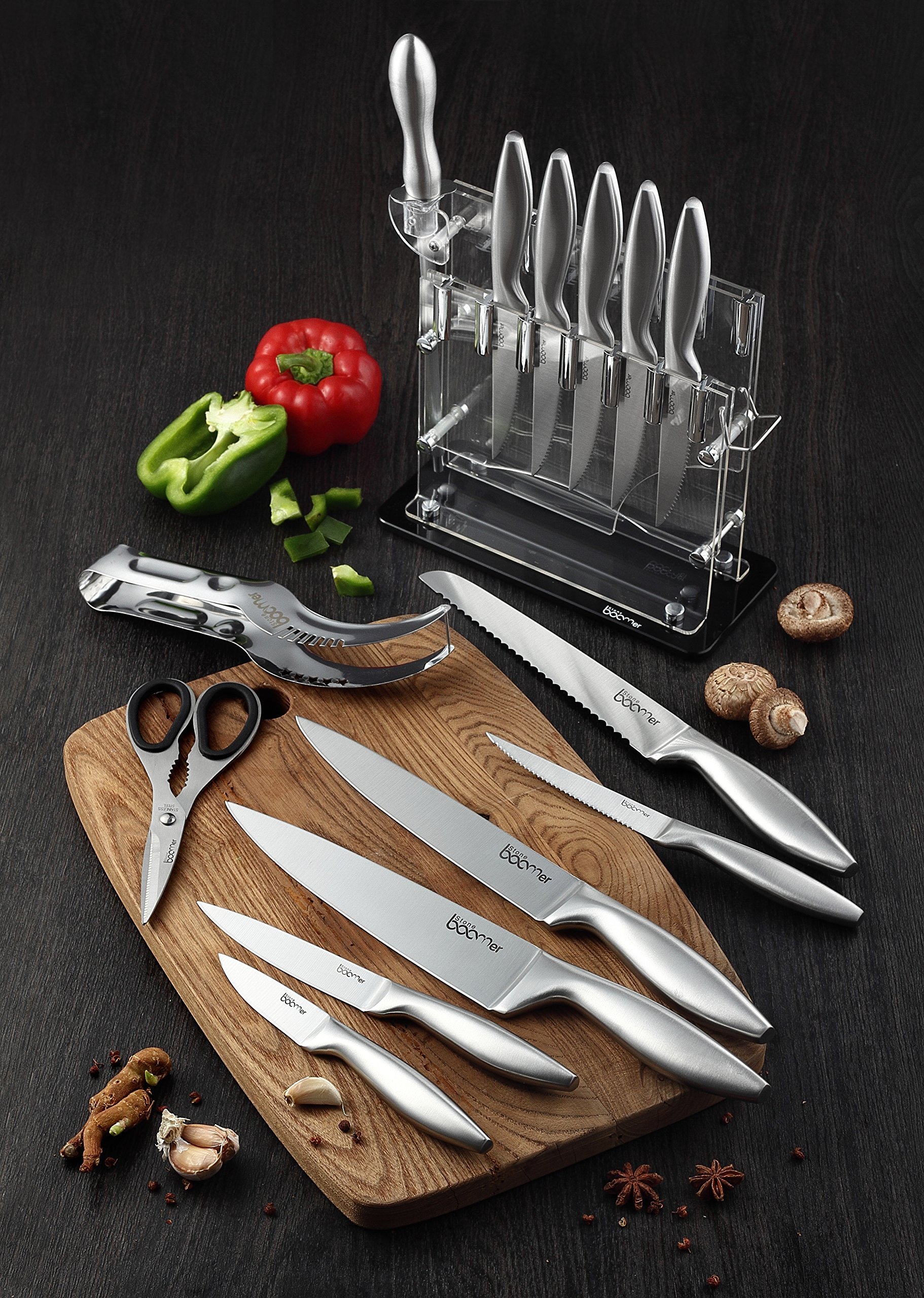 Knife Set, Kitchen Chef Knives - Stone boomer 14 Piece Knife Block Set, Stainless Steel Knife Set, Chef Knife Set, Knives Set, Scissors, Sharpener & Acrylic Stand, Super Sharp,!!! by Stone boomer (Image #8)