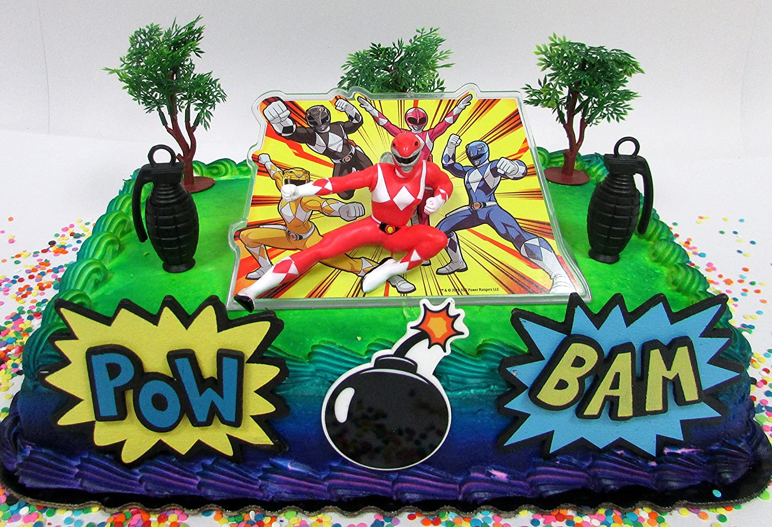 Groovy Amazon Com Cake Toppers Power Rangers Birthday Set Featuring Funny Birthday Cards Online Inifodamsfinfo