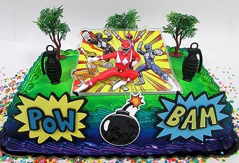 Amazon.com: Power Rangers Birthday Cake Topper Set Featuring