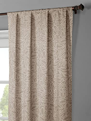 Window Elements Leila Printed Cotton Extra Wide 104 x 96 in. Rod Pocket Curtain Panel Pair, Linen