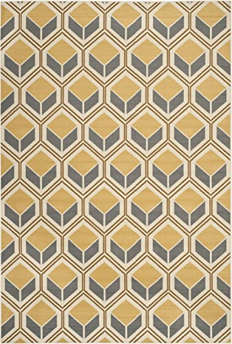 Safavieh Hampton Collection HAM512AI Ivory and Camel Indoor Outdoor Area Rug 6 7 x 9 6