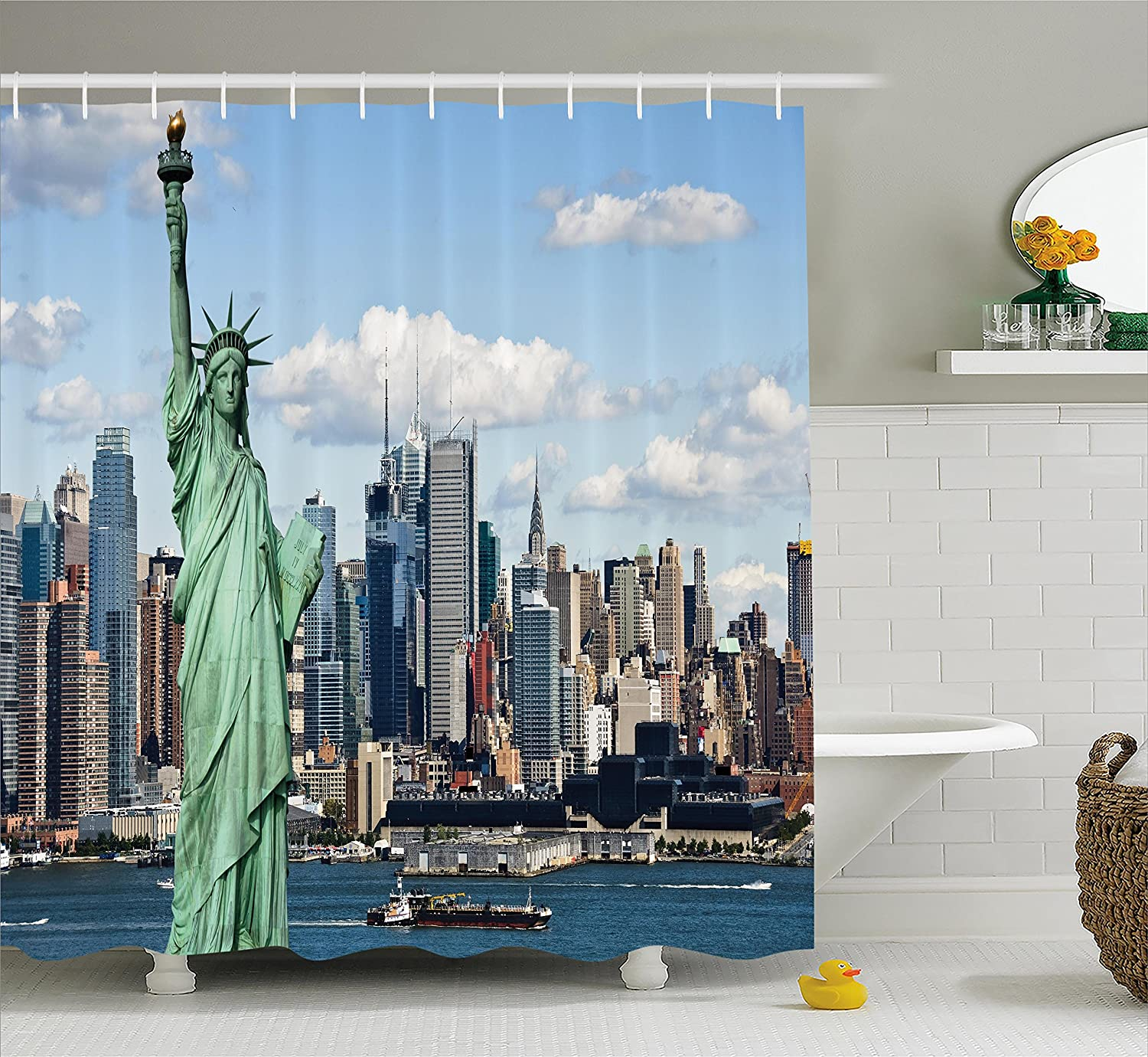 Ambesonne New York Shower Curtain, Statue of Liberty in NYC Harbor Urban City Print Famous Cultural Landmark Picture, Fabric Bathroom Decor Set with Hooks, 70 Inches, Mint Blue