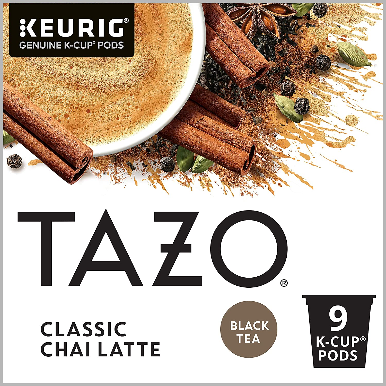 Tazo Chai Latte K-Cup Pods for a rich and bold smooth chai latte Black Tea with a touch of sweetness 9 Count