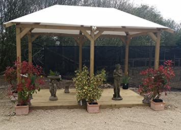 M m timber gazebo with pvc roof amazon garden outdoors
