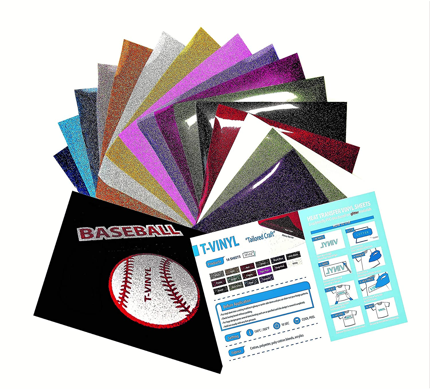 """T-VINYL Glitter Heat Transfer Vinyl Sheets Set for DIY T-Shirts : 12""""×10""""- 16 Pack of 16 Assorted Brilliant Colors – Best Iron On T-VINYL Bundle for Cricut, Silhouette Cameo and Other Vinyl Cutters YOUMIN INDUSTRIAL PVT 02-Tvinyl-16"""