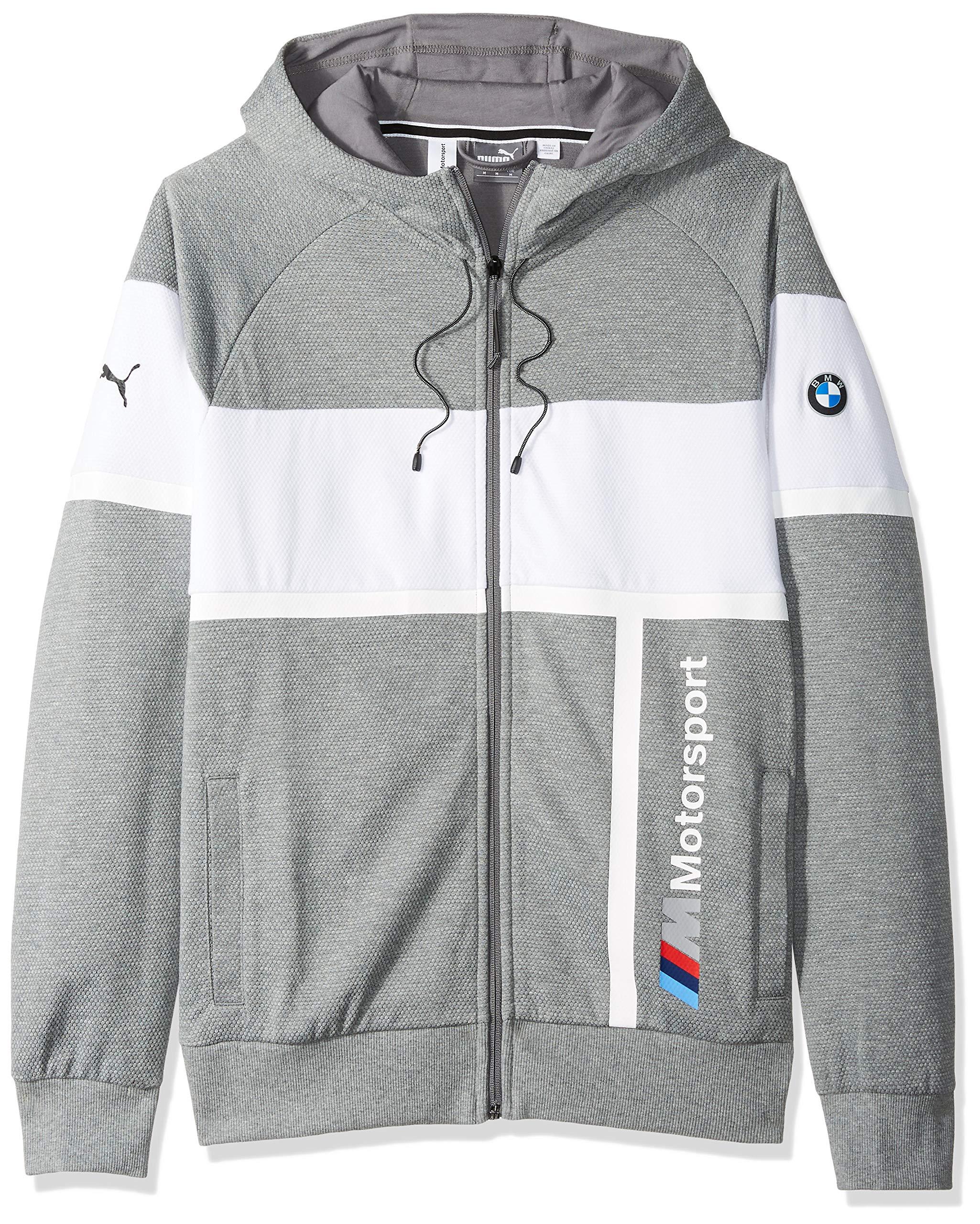 PUMA Men's BMW Motorsport Hooded Sweat Jacket, Medium Gray Heather XX-Large