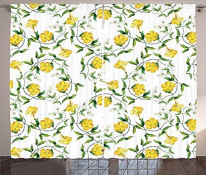 Amazon Ambesonne Yellow Flower Curtains Romantic Botanical