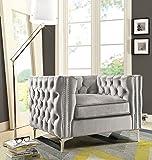Iconic Home Da Vinci Velvet Modern Contemporary Button Tufted with Silver Nailhead Trim Silvertone Metal Y-Leg Club Chair, Silver