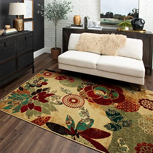 Mohawk Home Multicolor Geo Floral Pattern Area Rug 7'6×10'