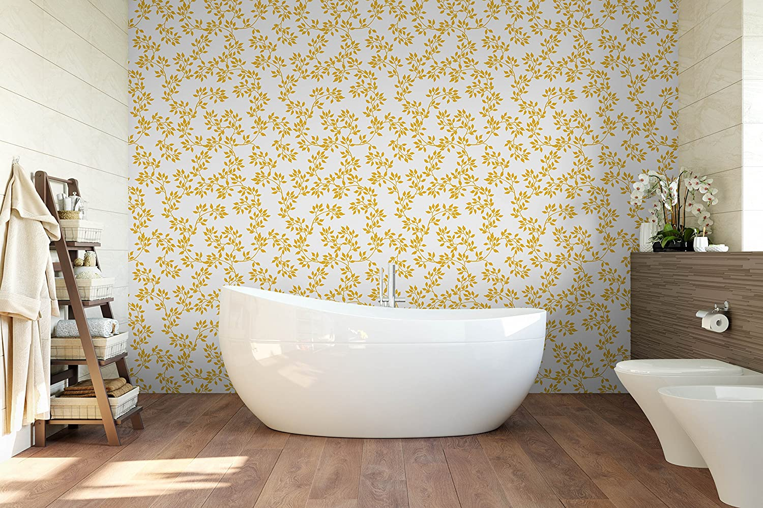 Amazon com temporary gold color structure leaves removable wallpaper print make your walls luxury with self adhesive wall paper handmade
