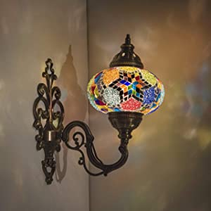 "(31 Models) Handmade Wall Lamp Mosaic Shade, 2019 Stunning 16.5"" Height - 7"" Globe, Turkish Moroccan Glass Lantern Arabian Bedside Home Decoration Light Bronze (Daisy)"