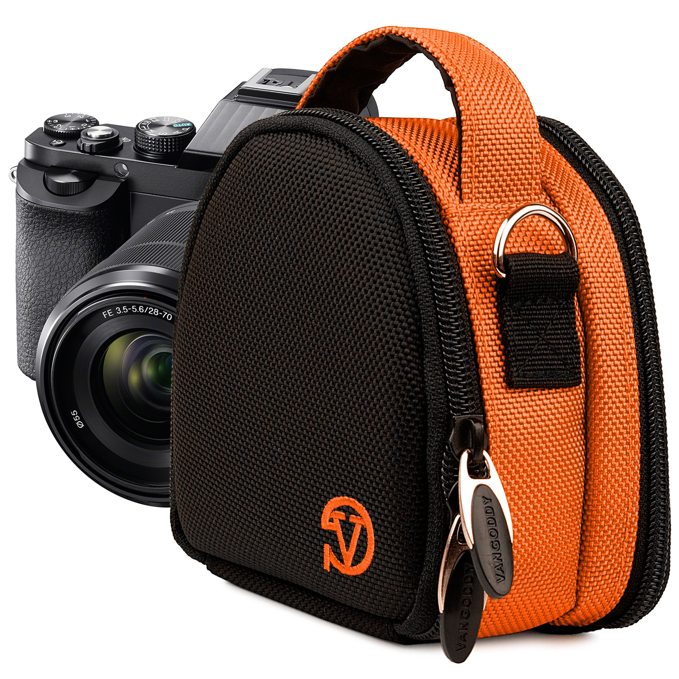 VanGoddy Compact Mini Laurel Orange Camera Pouch Cover Bag fits Canon PowerShot G7 X, N100, N Facebook, SX600, SX260, S120, S110 HS by Vangoddy