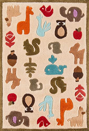 Momeni Rugs Lil Mo Whimsy Collection, Kids Themed Hand Carved Tufted Area Rug, 2 x 3 , Multicolor Animals on Ivory