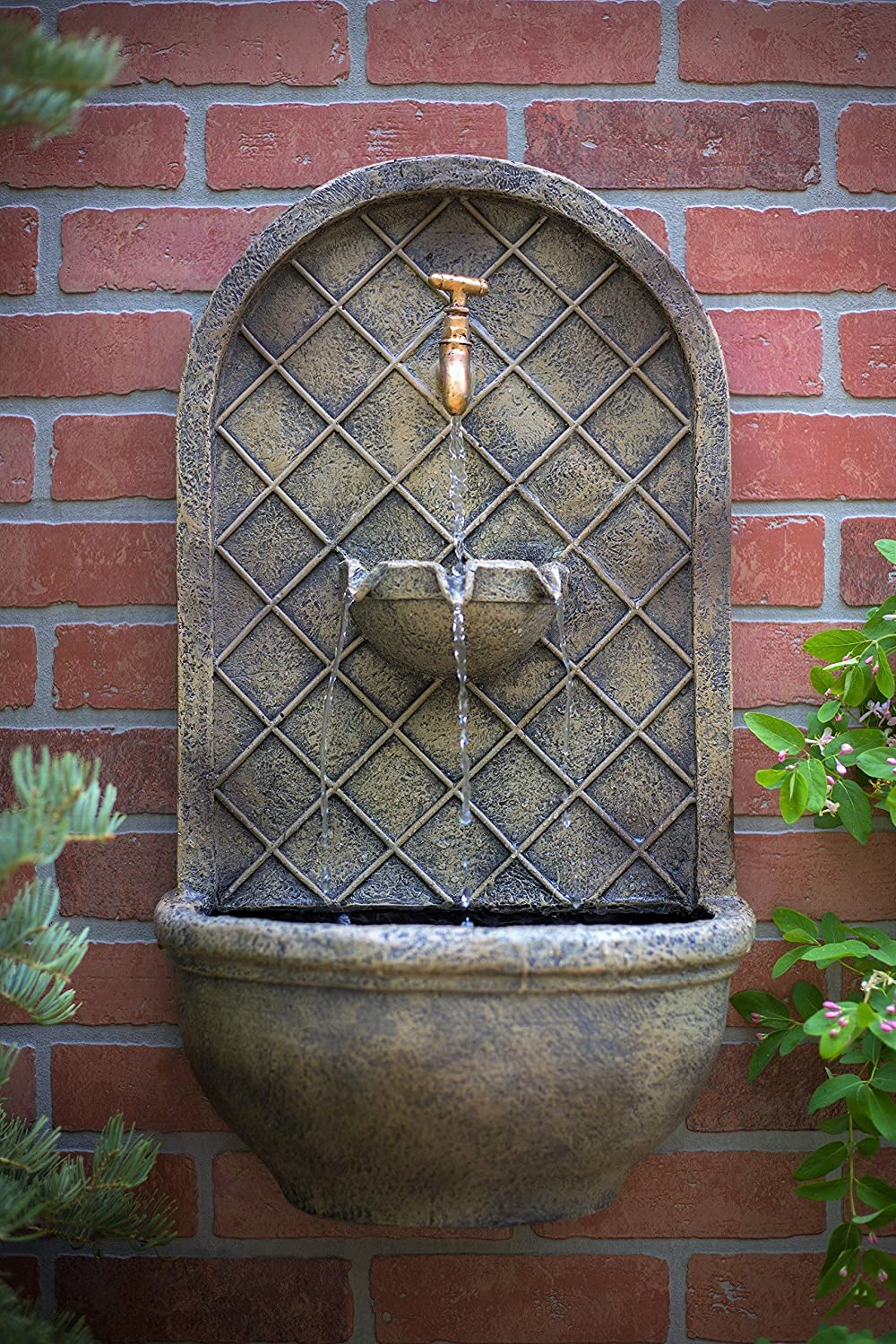 The Milano Outdoor Wall Fountain Florentine Stone Finish Water Feature For Garden Patio And Landscape Enhancement Amazon Co Uk Garden Outdoors