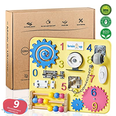 Busy Board for Toddlers - Sensory Board - Wooden Busy Board for Kids - Activity Board for Toddlers 1-3 - Locks and Latches Activity Board - Baby Activity Board - Toddler Educational Toys: Toys & Games