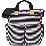 Skip Hop Messenger Diaper Bag with Matching Changing Pad, Duo Signature, Blackwhite Stripe, Black, White, 1.35 Pound