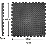 Large and Thick Foam Interlocking Mat Tiles – 4 Pack – High Grip Surface and Waterproof - Floor Mats for Gym's, Shed's and Garage's – Black Foam Tiles by EVA
