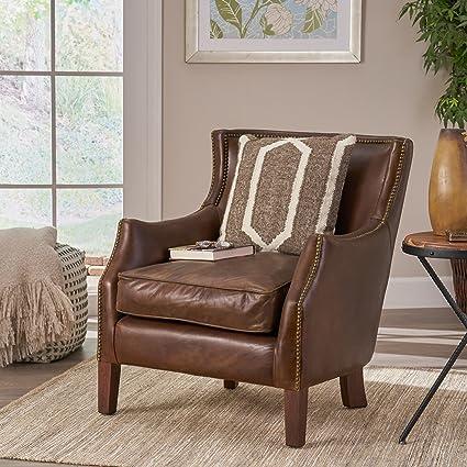 Tiller Top Grain Vintage Design Brown Leather Club Chair