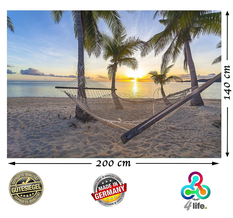 PMP-4life XXL Poster Strand Hängematte vor Sonnenuntergang am Meer HD 140cm x 100cm Hochauflösende Wanddekoration Natur Bild für Wandgestaltung Wandbild | Fotoposter Karibik Sonne Sommer Palmen | PMP 4life.