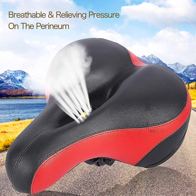 Asvert Sillín Bicicleta Antiprostático de Ciclismo Transpirable y Ancho con Muelles y Raya Refleja Asiento para Bici MTB Carretera Montaña Urbana al Aire ...