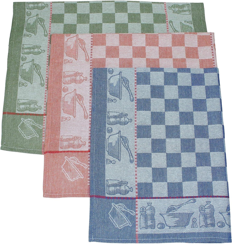 Betz Lot de 3 torchons en Lin m/élang/é Olives Taille 50x70 cm Couleur Bleu Vert Rouge