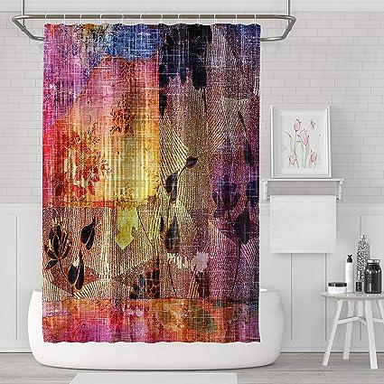Summor Mildew Resistant Shower CurtainsAntique Vintage Color Purple Blue Black Red Yellow Bath Curtain