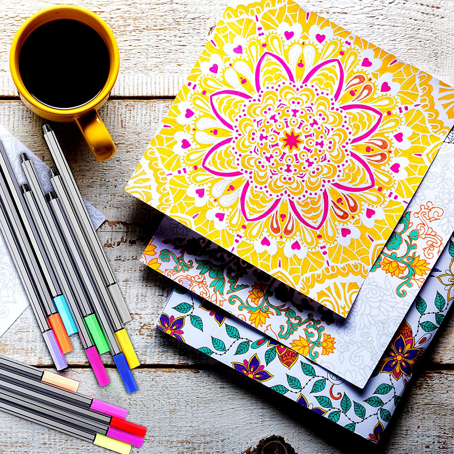 Coloring book for adults for pc - Fine Felt Tip Pens 30 Piece Colored Pen Art Set Ideal For Adult Coloring And Fine Drawing Amazon Co Uk Office Products