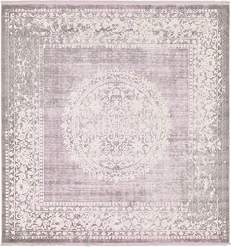 Unique Loom New Classical Collection Traditional Distressed Vintage Classic Purple Square Rug 8 0 x 8 0