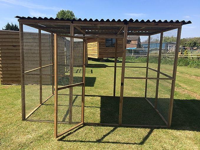 4wire Caja de Animales de 1,82 m x 2,74 m con Techo de Rana de Agua – Conejos de pájaros Pollos Animales pequeños: Amazon.es: Productos para mascotas