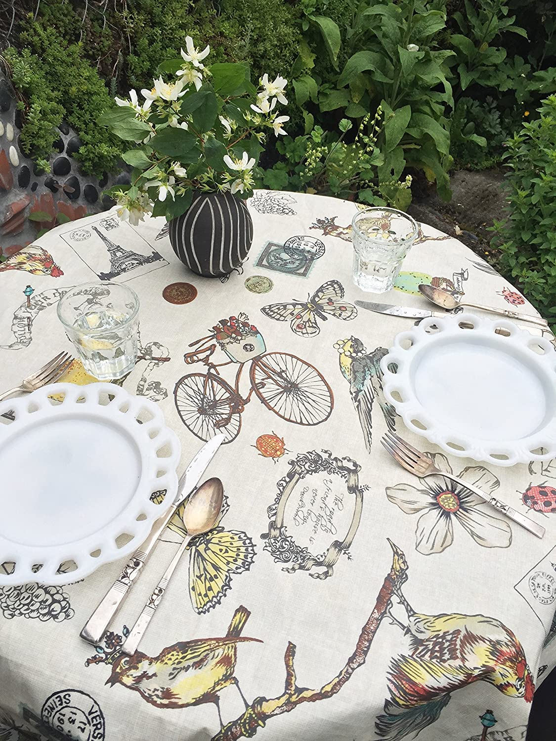 Coated cotton tablecloth in