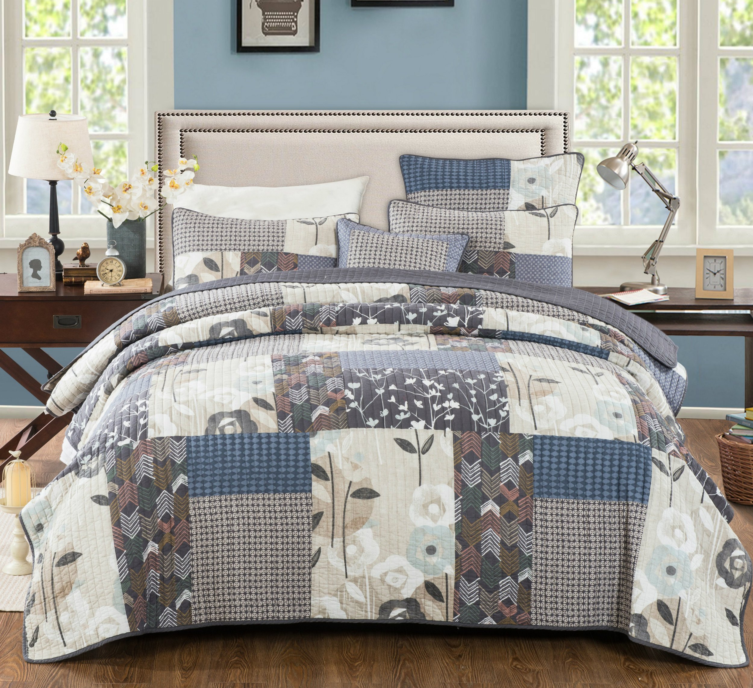 DaDa Bedding Patchwork Bedspread Set - Cotton Quiet Country Farmhouse Coverlet - Quilted Warm Multi Colorful - Blue Grey Tan Floral - Full - 3-Pieces