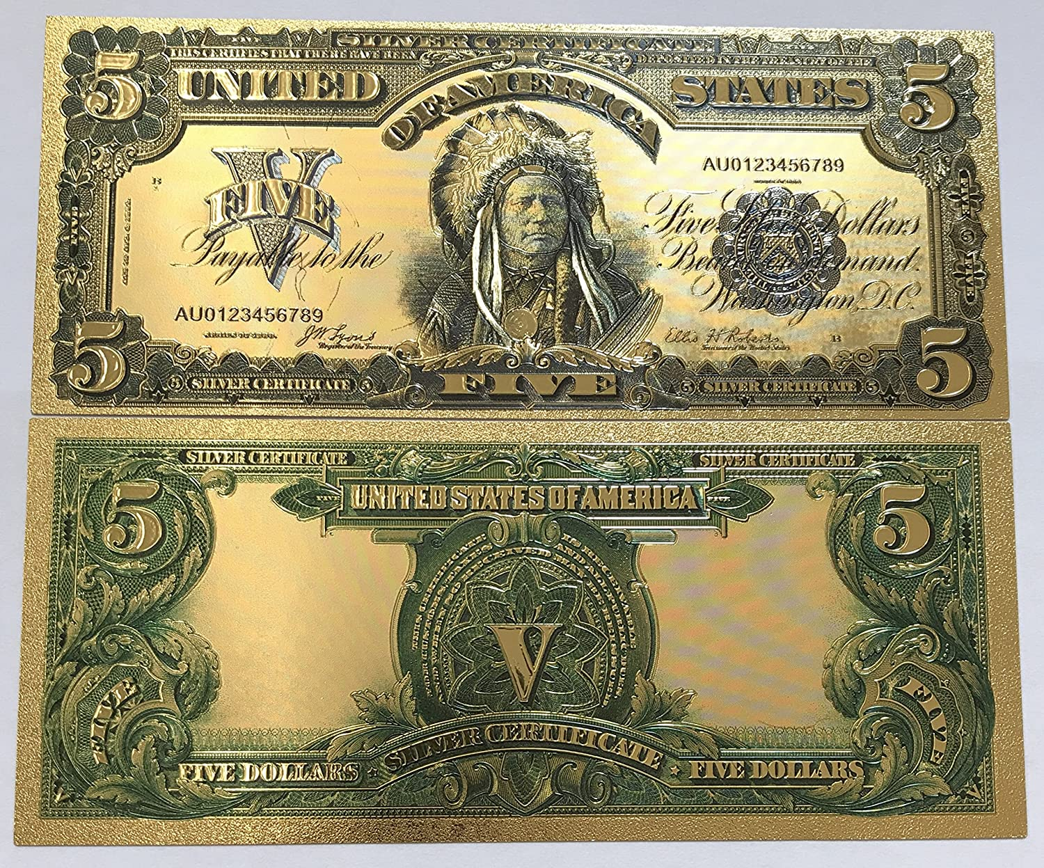 Amazon Authentic 500 Silver Certificate 24kt Gold Plated Bank