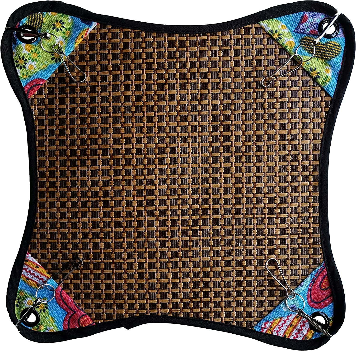 Vedem Small Animal Cool Rattan Hammock Bed Cage Hanging Reversible Mat for Hamster Sugar Glider Ferret Chinchilla