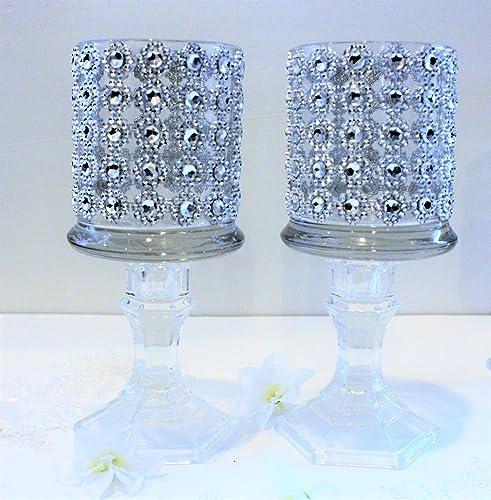 Amazon.com: Set of 5 tall glass candle holder wedding centerpiece ...