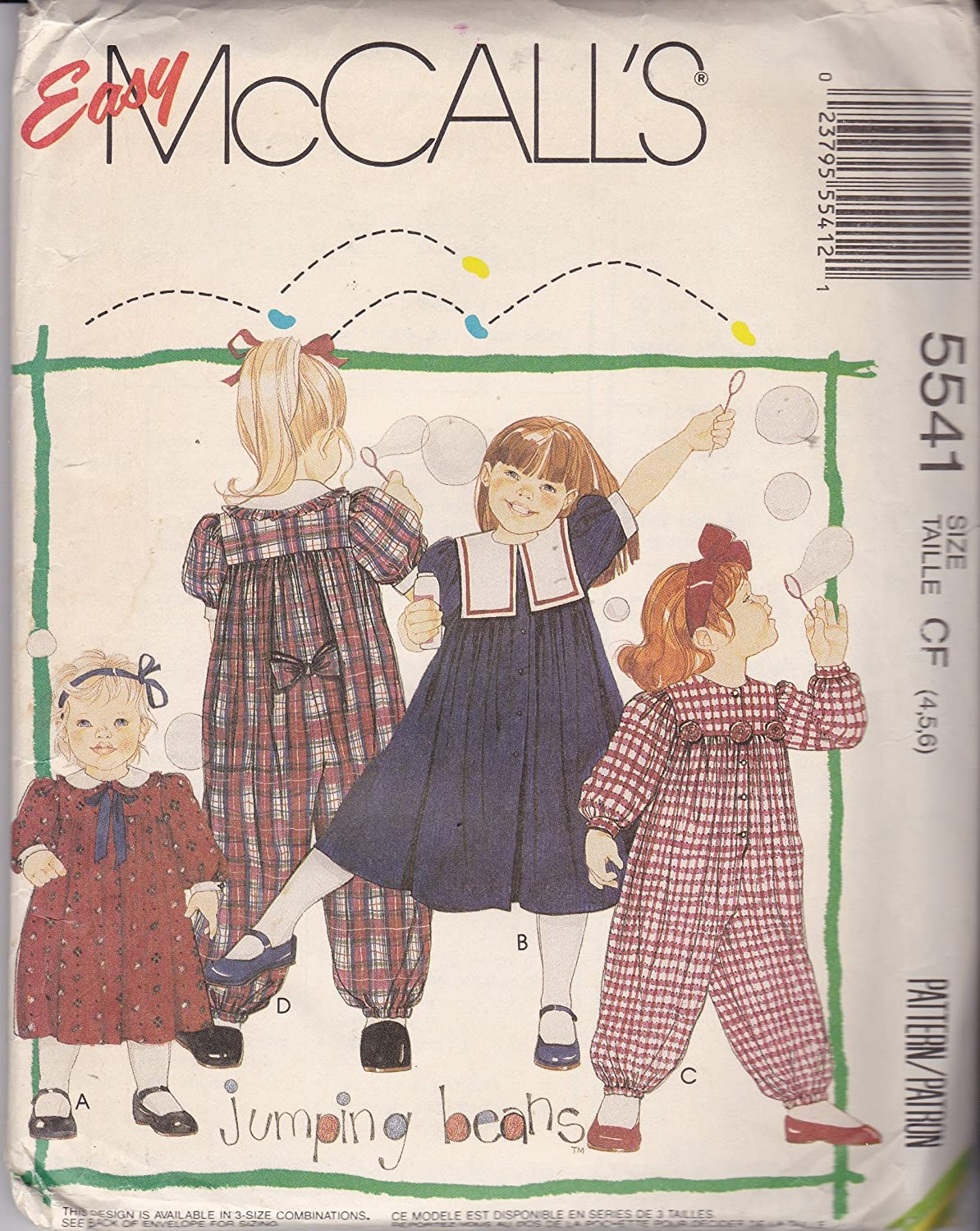 2855911bae1b Amazon.com  McCall s 5541 Sewing Pattern Girl s Easy Dress   Jumpsuit Size  4-6  Home   Kitchen