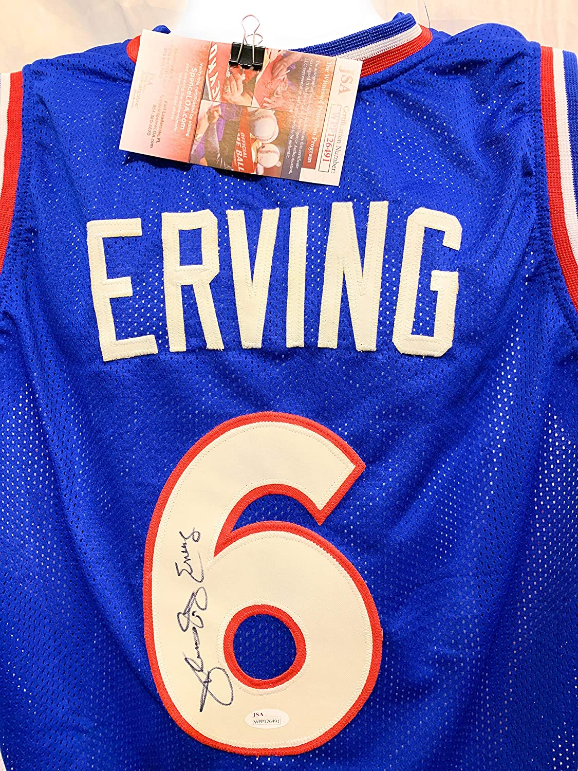 ad838d585c4 Julius Erving Dr J Philadelphia 76ers Signed Autograph Blue Custom Jersey  JSA Witnessed Certified at Amazon s Sports Collectibles Store