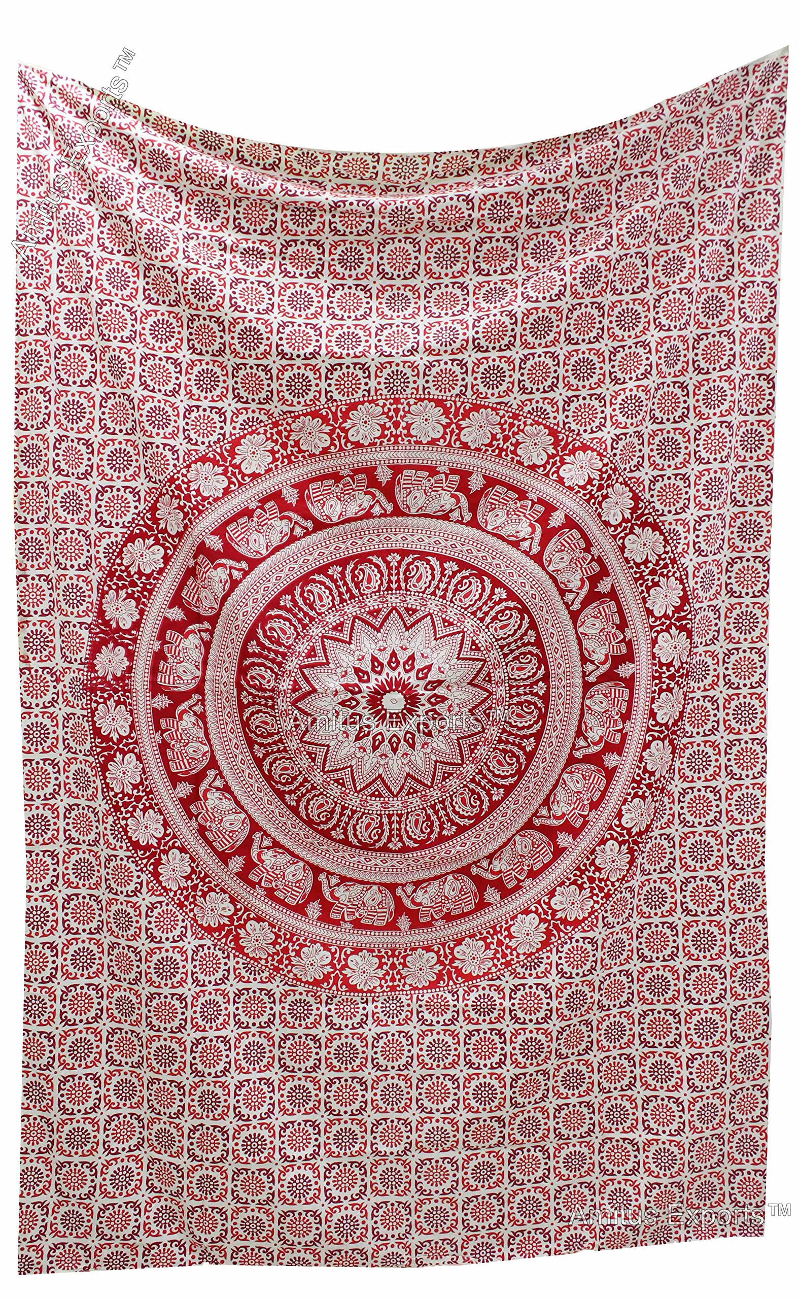 Amitus Exports TM Premium Quality 1 X Round Ombre Red Color 81''X52'' (Approx.) Inches Twin Size Indian Mandala Tapestry Thin Cotton Fabric Throws (Handmade In India)