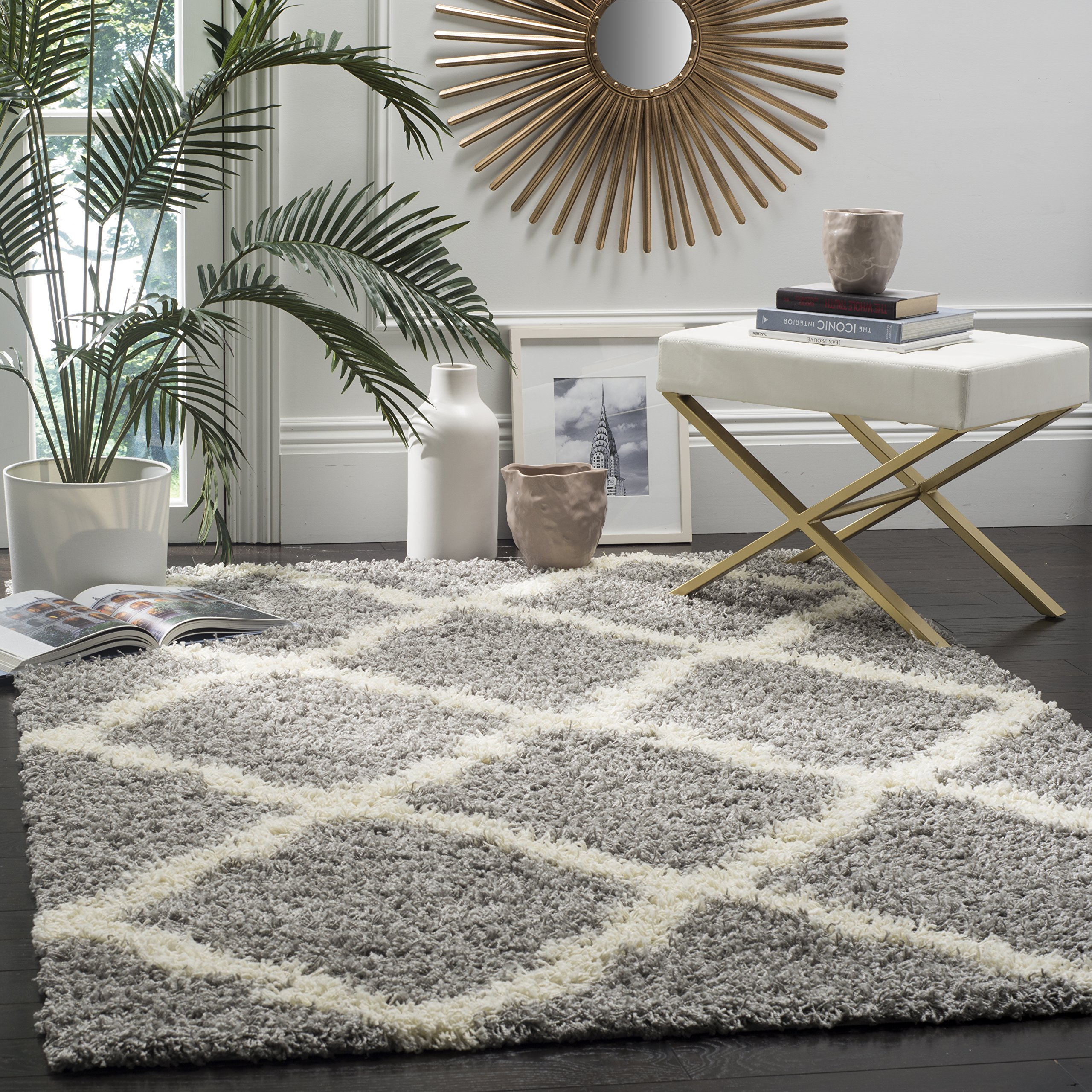 Safavieh Dallas Shag Collection SGD257G Grey and Ivory Area Rug, 8 feet by 10 feet (8' x 10') by Safavieh