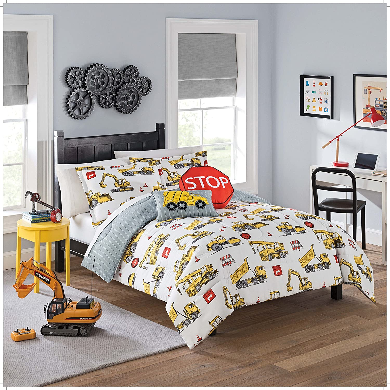 WAVERLY Kids Under Construction Reversible Bedding Collection, Twin, Multicolor