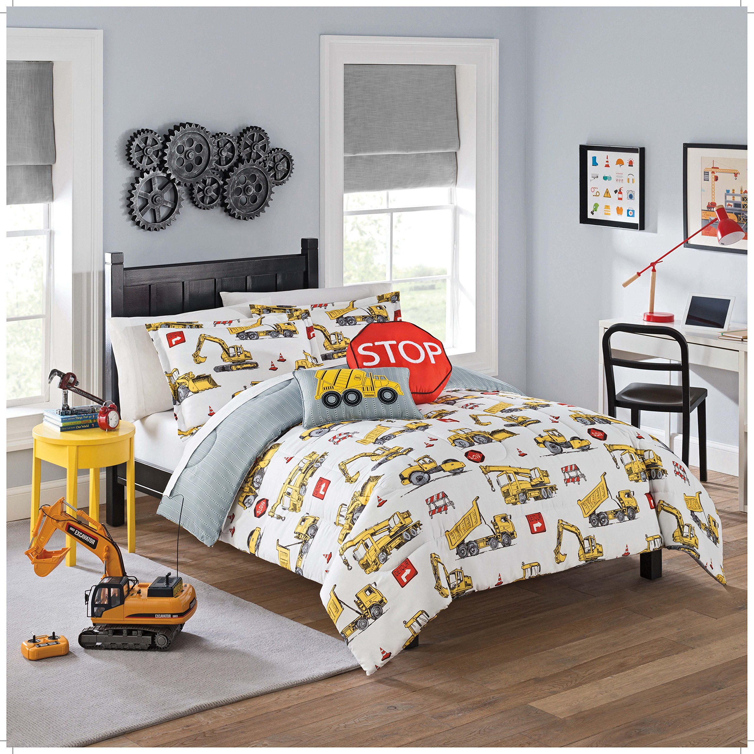 WAVERLY Kids Under Under Construction Reversible Bedding Collection, Twin, Multicolor by WAVERLY