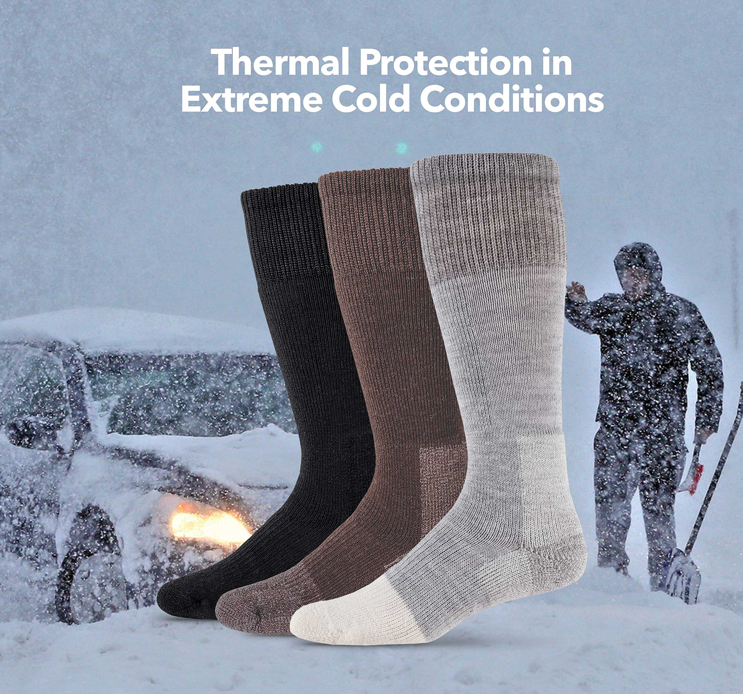 Thorlos Unisex EXCO Extreme Cold Thick Padded Over the Calf Sock, Grey, XLarge