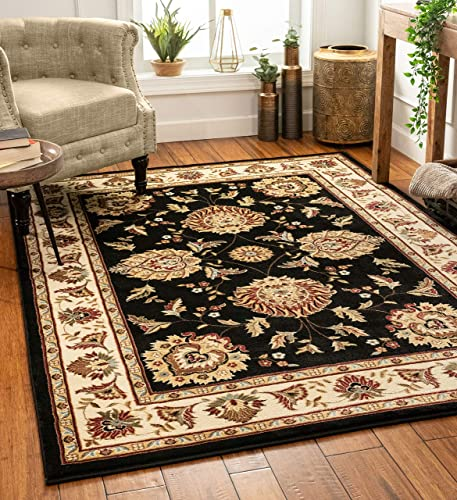Sultan Sarouk Black Persian Floral Oriental Formal Traditional 4×5 4×6 3'11″ x 5'3″ Area Rug Easy to Clean Stain Fade Resistant Shed Free Modern Contemporary Thick Soft Plush Living Dining Room Rug