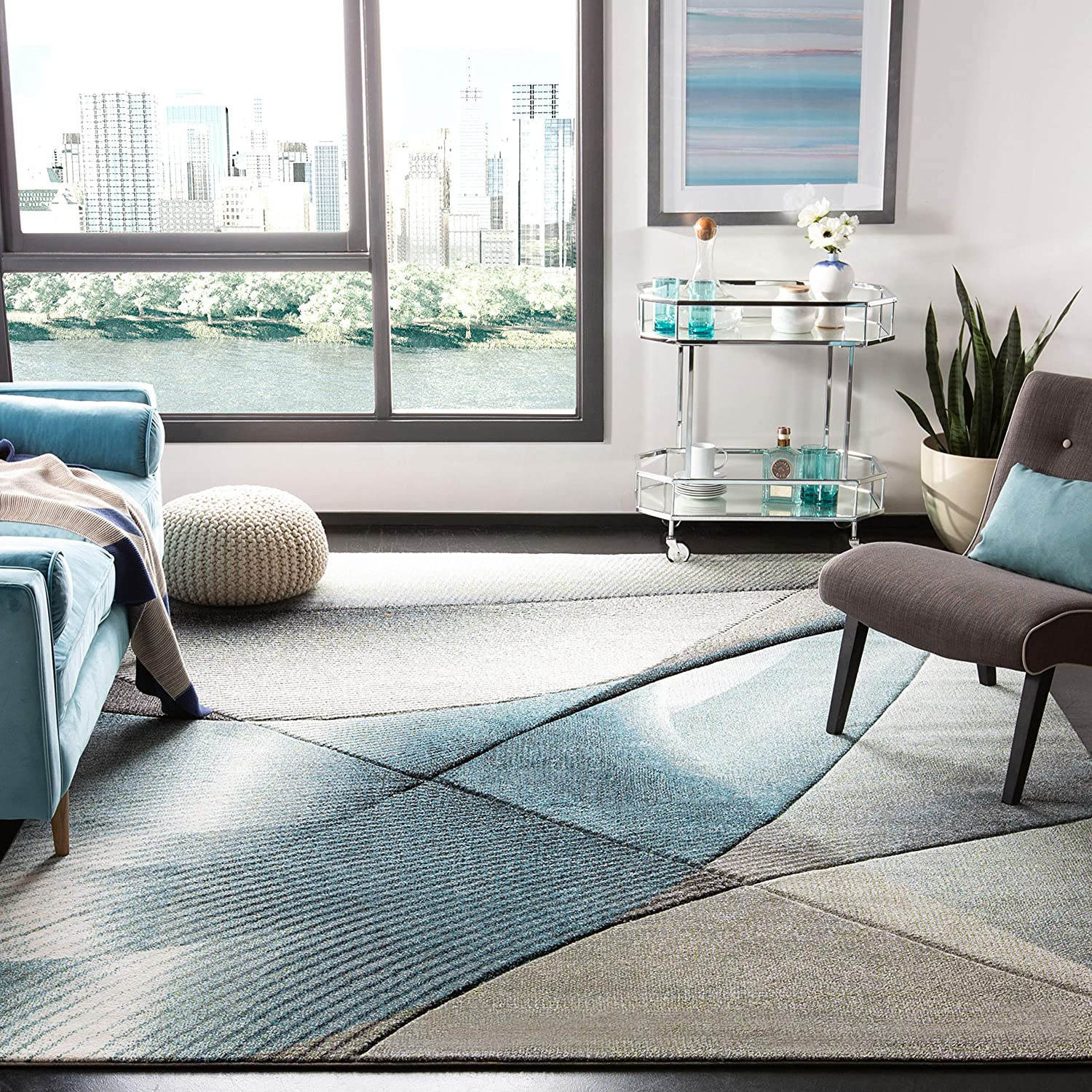 Safavieh Hollywood Collection HLW715D Grey and Teal Mid-Century Modern Abstract Area Rug (4' x 6')